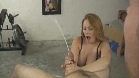 Busty Redhead Milf  Strokes A Big Hard Cock